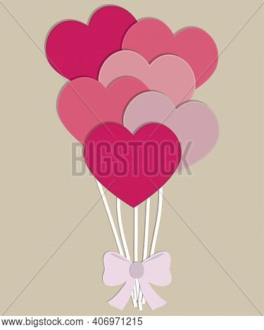 Colorful Paper Hearts On Strings Tied With A Bow. Handmade Crafts. Decorative Holiday Banner, Holida