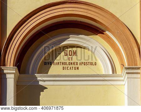 Arch Of The Parish Church Of San Bartolomeo In Tiarno Di Sotto, In The Province Of Trento, Containin