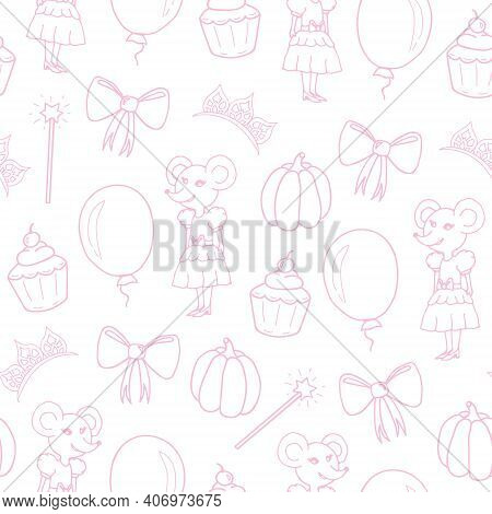Seamless Pattern For Girls. Pink Magic Wand, Bow, Mouse In Dress, Pumpkin, Balloon, Cupcake And Diad