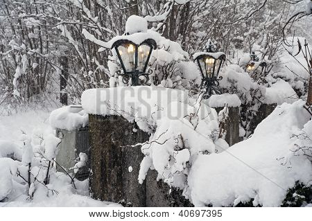 Streetlamps in snow