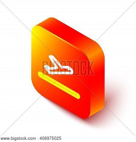 Isometric Line Plane Takeoff Icon Isolated On White Background. Airplane Transport Symbol. Orange Sq