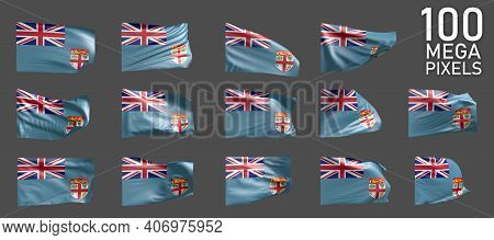 Fiji Flag Isolated - Various Images Of The Waving Flag On Grey Background - Object 3d Illustration