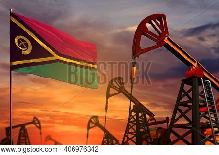 Vanuatu Oil Industry Concept, Industrial Illustration. Vanuatu Flag And Oil Wells And The Red And Bl
