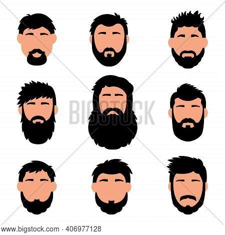 Cartoon Hair, Beard And Face. Sleek Style. Vector Men S Hairstyle, Illustration, Beard, Icons, Hair
