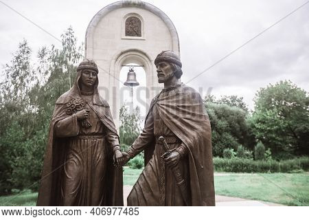 Dmitrov, Russia - July 19, 2020: Monument To The Holy Prince Peter And Princess Fevronia In The Muse