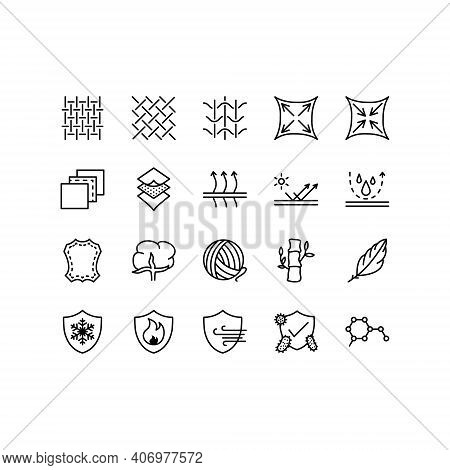 Fabric And Layered Material Related Vector Icons. Clothing Properties Symbols. Contains Icons Such A