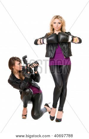 Charming Two Girls With The Camera