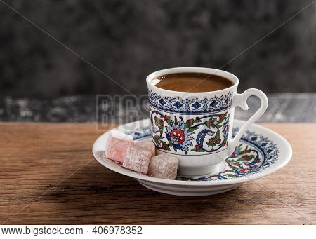 Turkish Coffee With Traditional Porcelain Cup. Coffee With Turkish Delight.