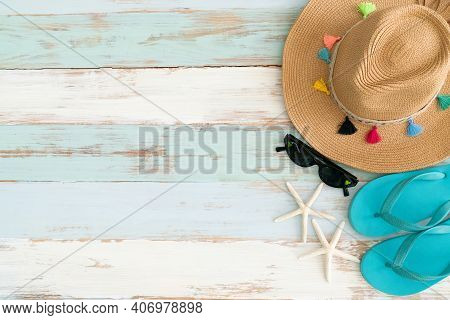 Concept Of Travel Vacation Trip And Long Summer Weekend Planning On Wooden Table Background