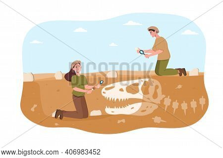 Male And Female Archaeologist Discovering Dinosaurs Remains Under Ground. Young Smiling Couple Invet