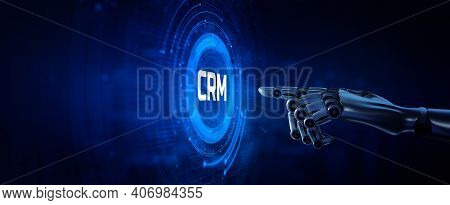 Crm System Software Customer Relationship Management Concept. Robotic Hand Pressing Button 3d Render
