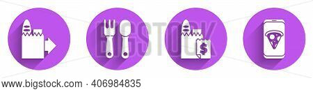 Set Online Ordering And Delivery, Fork And Spoon, Online Ordering And Delivery And Food Ordering Piz