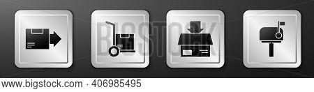Set Carton Cardboard Box, Hand Truck And Boxes, Carton Cardboard Box And Mail Box Icon. Silver Squar