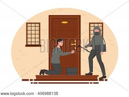 Two Male Burglars Breaking Into House With Master Key. Concept Of Home Break-in And Lockpicking. Thi