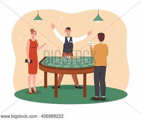 Male And Female Characters Are Playing Casino Games. Croupier Count Chips. Man And Woman Are Playing