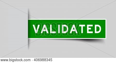 Label Sticker Green Color In Word Validated That Inserted In Gray Background