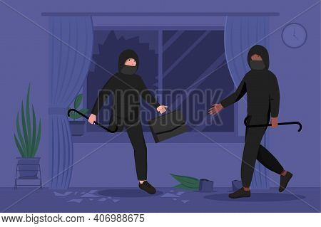 Two Male Burglars In Masks And Hoodie Breaking In House Or Apartment. Concept Of Theft, Burglary Or