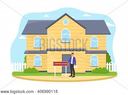 Male Character Is Confiscating Big House. Concept Of Judging Auction Of Real Estate House Attached T