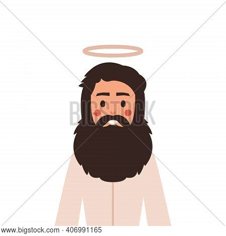 Jesus Christ In Cute Cartoon Style. Christian Bible For Kids, Vector Illustration