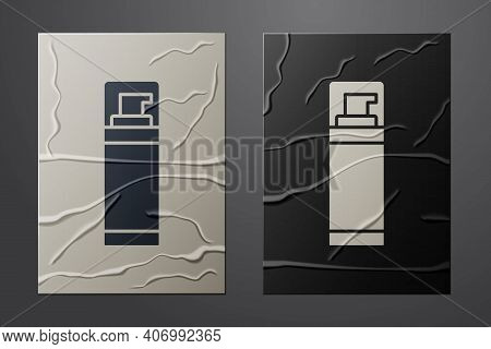 White Shaving Gel Foam Icon Isolated On Crumpled Paper Background. Shaving Cream. Paper Art Style. V