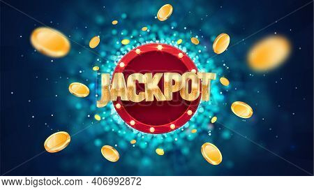 Jackpot Golden Text On Retro Red Board Vector Banner. Winning Vector Illustration. Win Congratulatio