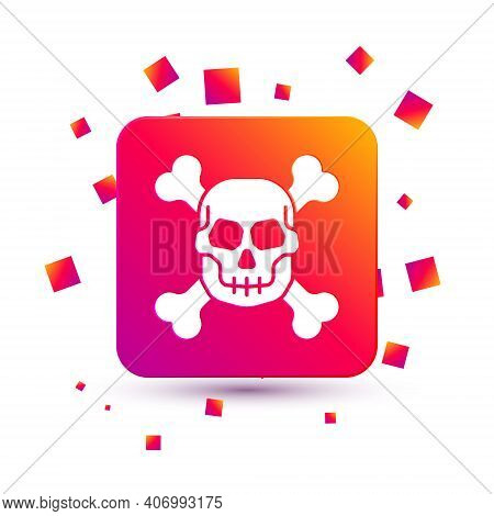 White Skull On Crossbones Icon Isolated On White Background. Happy Halloween Party. Square Color But