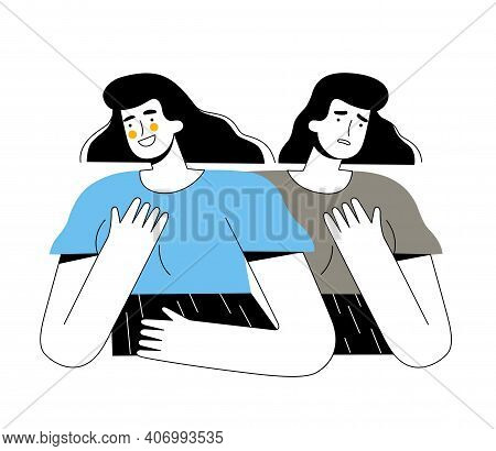 Woman With Different Emotions And Bipolar Disorder. The Girl Smiles And Laughs And Is Sad Or Worried