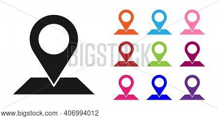 Black Map Pin Icon Isolated On White Background. Navigation, Pointer, Location, Map, Gps, Direction,