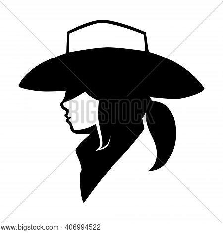 Black And White Cowgirl Wearing Bandana Portrait Side View Symbol On White Backdrop. Design Element