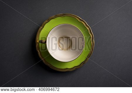 Green Tea Cup On A Gray Background