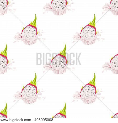 Seamless Pattern With Fresh Bright Red Pitaya Juice Splash Burst Isolated On White Background. Summe