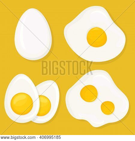 A Set Of Differently Cooked Eggs. Whole Egg, Raw, Fried Egg, Hard-boiled Egg. Fresh Tasty Boiled Egg