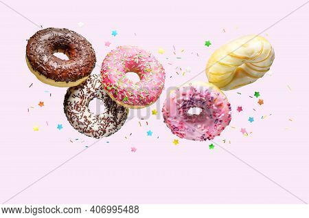 Donuts With Sprinkles Flying Over Pink Background.