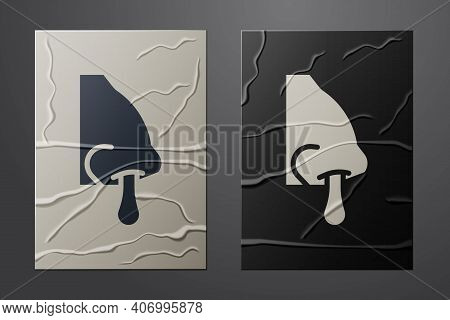 White Runny Nose Icon Isolated On Crumpled Paper Background. Rhinitis Symptoms, Treatment. Nose And