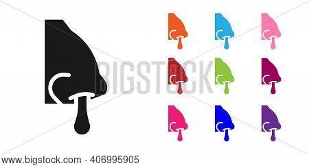 Black Runny Nose Icon Isolated On White Background. Rhinitis Symptoms, Treatment. Nose And Sneezing.