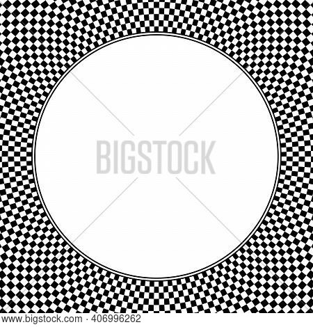 Square Shaped Checkerboard Pattern Background, With Blank White Circle In The Middle. Checkered Patt