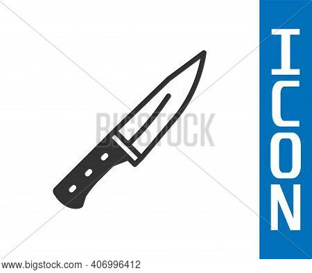 Grey Meat Chopper Icon Isolated On White Background. Butcher Knife. Kitchen Knife For Meat. Butcher