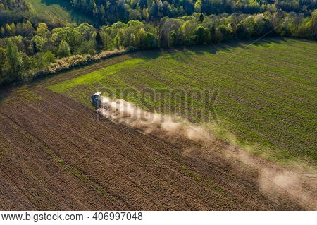 The Process Of Preparing The Land For Sowing Cultivated Plants, View From The Top Of The Field Culti