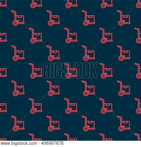 Red Line Hand Truck And Boxes Icon Isolated Seamless Pattern On Black Background. Dolly Symbol. Vect