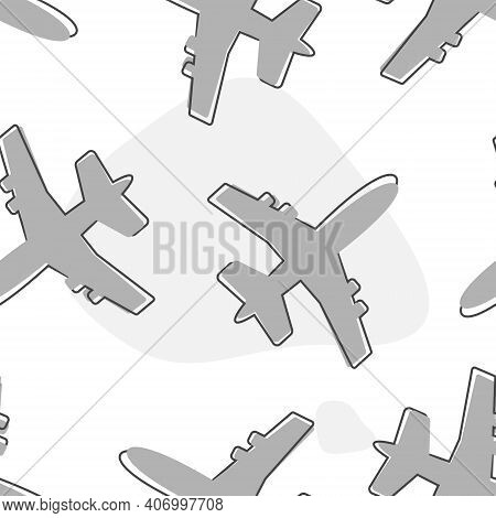 Aircraft Or Airplane Icon Cartoon Style On Seamless Pattern On A White Background.