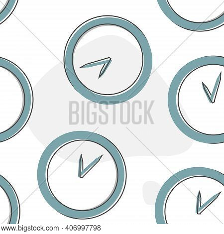Vector Image Of A Clock Cartoon Style On Seamless Pattern On A White Background.