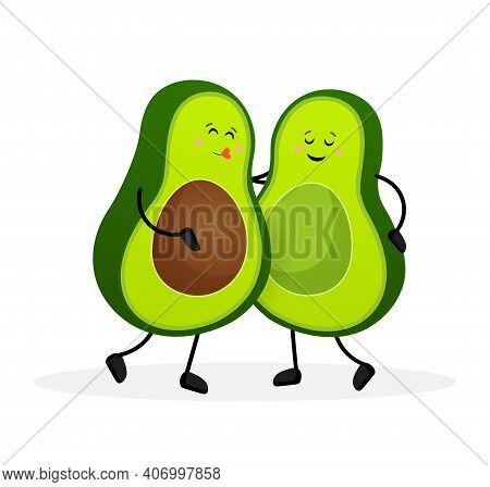 Avocado, Great Design For Any Purposes. Vector Hand Drawn Illustration. Funny Cartoon Character.