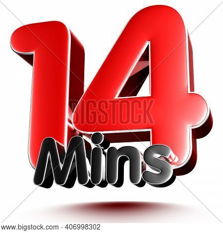 14 Mins Isolated On White Background Illustration 3D Rendering With Clipping Path.