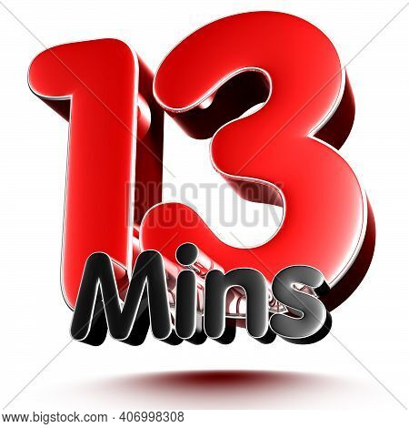 13 Mins Isolated On White Background Illustration 3D Rendering With Clipping Path.