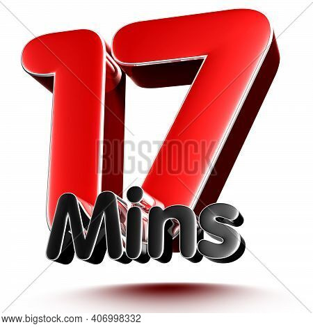 17 Mins Isolated On White Background Illustration 3D Rendering With Clipping Path.