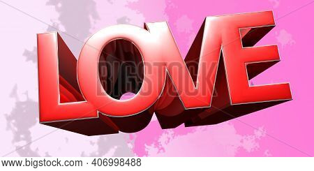 Love On White Background Illustration 3d Rendering With Clipping Path.