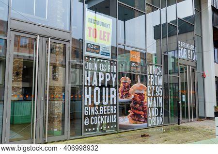 Chester; Uk: Jan 29, 2021: Window Advertisements Still Promote Menu Items At Firejacks On Pepper Str