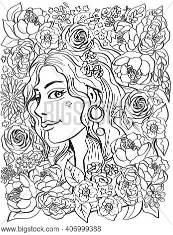 Portrait Of A Young Girl In A Frame Of Flowers. - Antistress Floral Adult Coloring Book Page With Pe