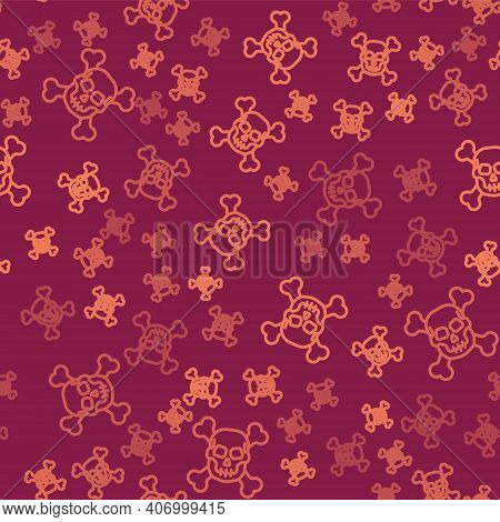 Brown Line Skull On Crossbones Icon Isolated Seamless Pattern On Red Background. Happy Halloween Par