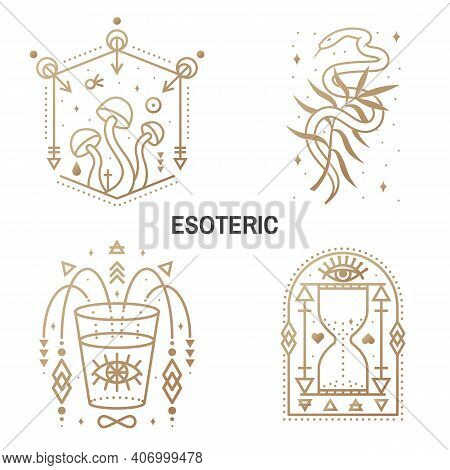 Esoteric Symbols. Vector. Thin Line Geometric Badge. Outline Icon For Alchemy Or Sacred Geometry. My